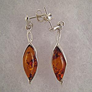 Boucles d'oreilles feuille - bijou ambre et argent