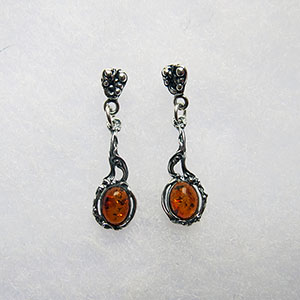 Boucles d'oreilles ancienne mini - bijou ambre et argent