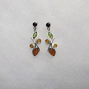 Boucles d'oreilles arkusz - bijou ambre et argent