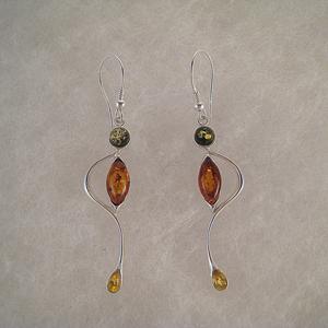 Boucles d'oreilles bonhomme multicolore - bijou ambre et argent