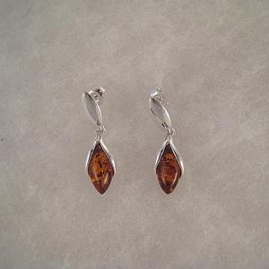 Boucles d'oreilles bourgeon - bijou ambre et argent