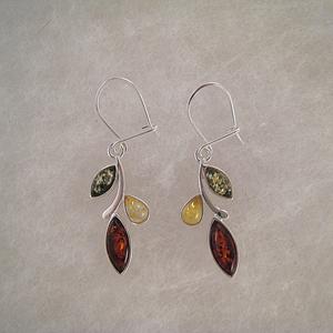 Boucles d'oreilles feuilles multi bis - bijou ambre et argent
