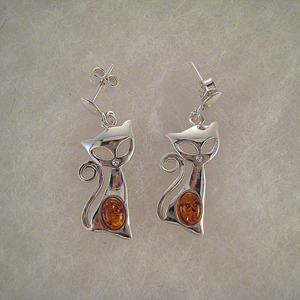 Boucles d'oreilles chat malin - bijou ambre et argent