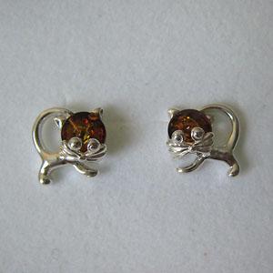 Boucles d'oreilles chaton - bijou ambre et argent
