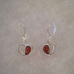 Boucles d'oreilles coeur pendant - bijou ambre et argent