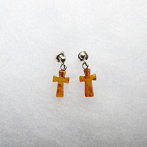 Boucles d'oreilles croix en ambre  - bijou ambre et argent