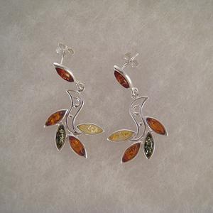 Boucles d'oreilles épi - bijou ambre et argent