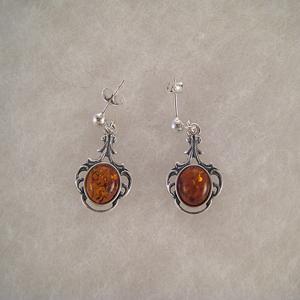 Boucles d'oreilles  rondes style ancien - bijou ambre et argent