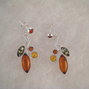 Boucles d'oreilles feuillage et petites perles F2 - bijou ambre et argent