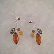 Boucles d'oreilles feuillage et petites perles F2