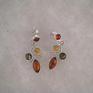 Boucles d'oreilles feuilles F1 - bijou ambre et argent