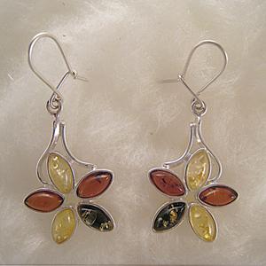 Boucles d'oreille fleur multicolore - bijou ambre et argent