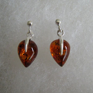 Boucles d'oreilles gouttelettes - bijou ambre et argent