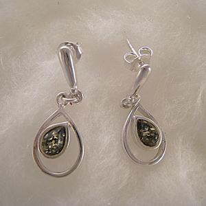 Boucles d'oreilles goutte renversée - bijou ambre et argent