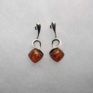 Boucles d'oreilles losange pendant  - bijou ambre et argent