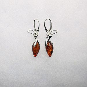 Boucles d'oreilles mode - bijou ambre et argent