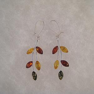 Boucles d'oreilles épi multi - bijou ambre et argent