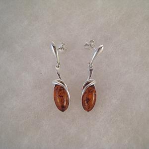 Boucles d'oreilles Oeil d'ambre - bijou ambre et argent