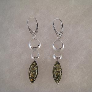 Boucles d'oreilles ovale vert pendant - bijou ambre et argent