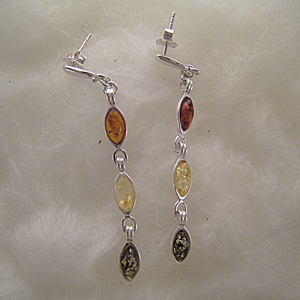 Boucles d'oreilles pendant ovale multicolore - bijou ambre et argent