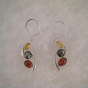 Boucles d'oreilles pendant perles multicolores - bijou ambre et argent