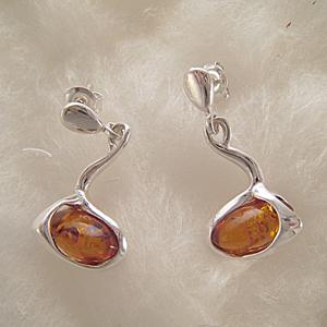 Boucles d'oreilles perle cognac ovale horizontale - bijou ambre et argent