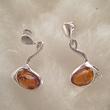 Boucles d'oreilles perle cognac ovale horizontale
