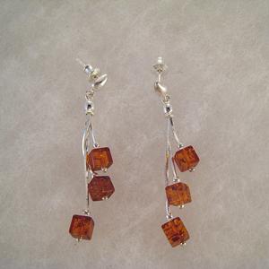 Boucles d'oreilles petits carrés pendants - bijou ambre et argent
