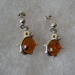 Boucles d'oreilles pingouin - bijou ambre et argent