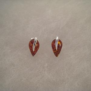 Boucles d'oreilles puce goutte d'eau  - bijou ambre et argent