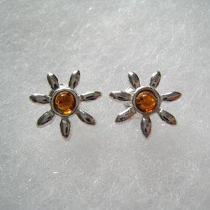 Boucles d'oreilles soleil miniature - bijou ambre et argent