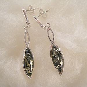 Boucles d'oreilles ovale tortillon - bijou ambre et argent