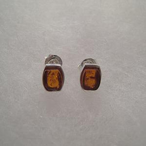 Boucles d'oreilles mini rectangle - bijou ambre et argent