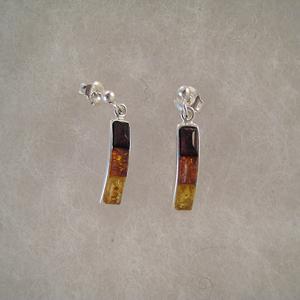 Boucles d'oreilles rectangle fin  - bijou ambre et argent
