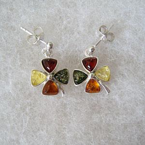 Boucles d'oreilles trèfle pendant - bijou ambre et argent