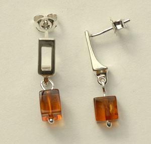 Cube pendant - bijou ambre et argent