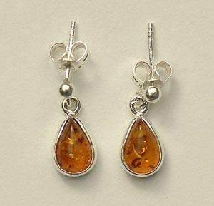 Boucles  d'oreilles mini gouttes - bijou ambre et argent