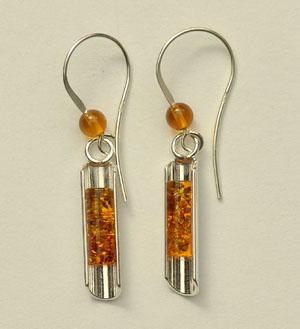 Boucles  d'oreilles tube simple - bijou ambre et argent