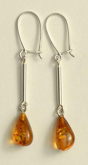Boucles  d'oreilles - bijou ambre et argent
