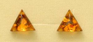 Boucles  d'oreilles triangle - bijou ambre et argent