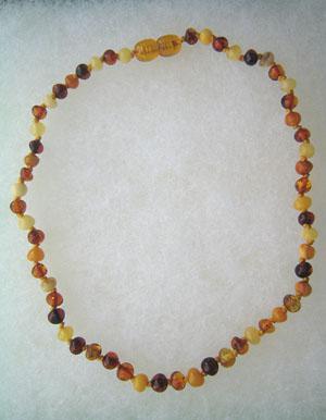 Collier ambre bébé  boules multicolores - bijou ambre et argent