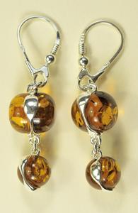Boucles  d'oreilles perles - bijou ambre et argent