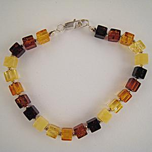 Bracelet carré - bijou ambre et argent