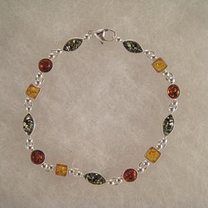 Bracelet d'alternance - bijou ambre et argent