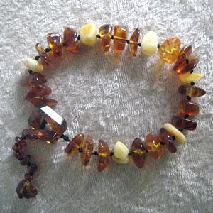Bracelet baroque blanc - bijou ambre et argent