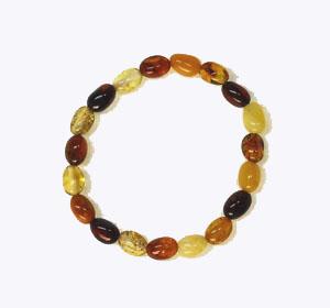 Bracelet ambre bébé olive multicolore