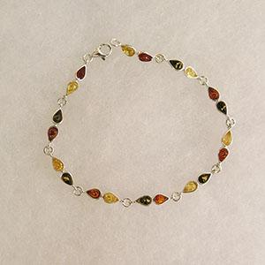 Bracelet duo de gouttes - bijou ambre et argent