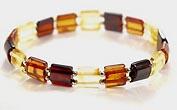 Bracelet  plat ambre elastique - bijou ambre et argent