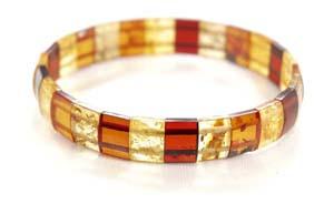 Bracelet ambre elastique - bijou ambre et argent
