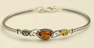 Bracelet rigide alterné - bijou ambre et argent